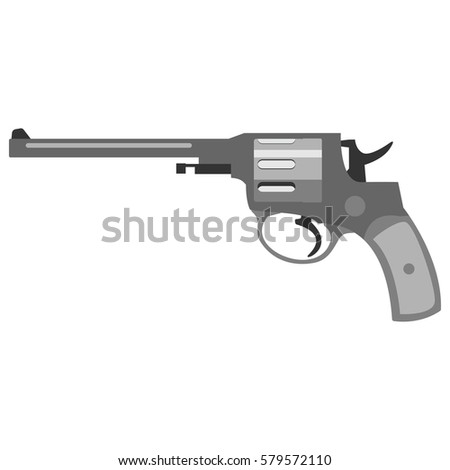 Pistol handgun security and military weapon. Metal revolver gun. Criminal and police firearm illustration.