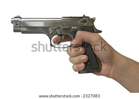 Pistol in hand - isolated (white background) - stock photo