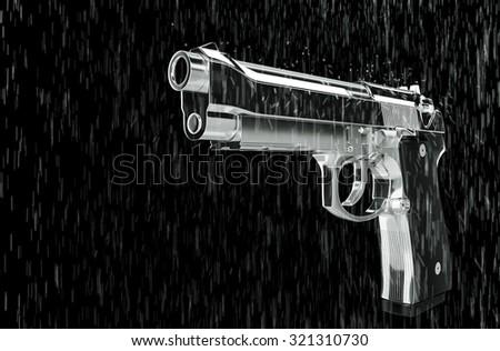 Pistol in the rain 3d rendering. - stock photo