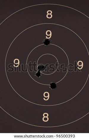 Pistol 25 meter target with 5 holes, 50 scored