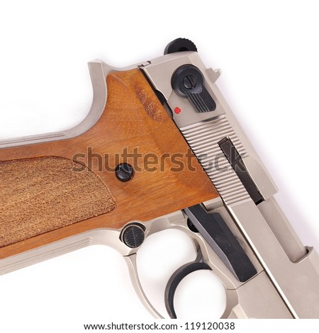 pistol police revolver firearm on white background - stock photo