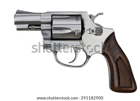 Pistol Revolver Handgun Firearm Isolated On White Background - stock photo