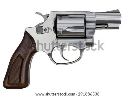 Pistol Revolver Handgun Isolated On White Background - stock photo