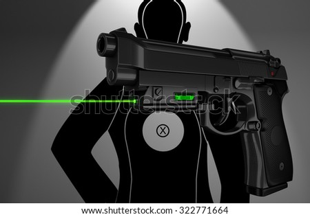 Pistol with a laser target shooting background 3d rendering. - stock photo