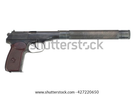 pistol with silencer isolated - stock photo