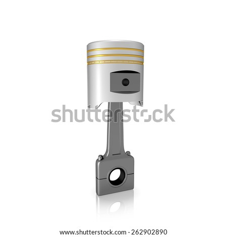Piston and conrod on white isolated background - stock photo