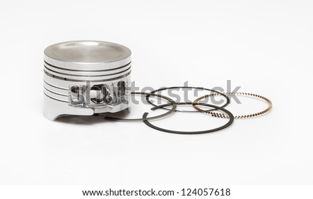 piston and set of ring used as repairing kit in automotive engines overhaul - stock photo