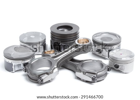 pistons and connecting rods, main parts for an internal combustion engine - stock photo