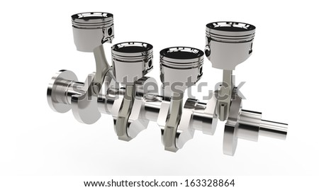 Pistons and crankshaft isolated on white background - stock photo