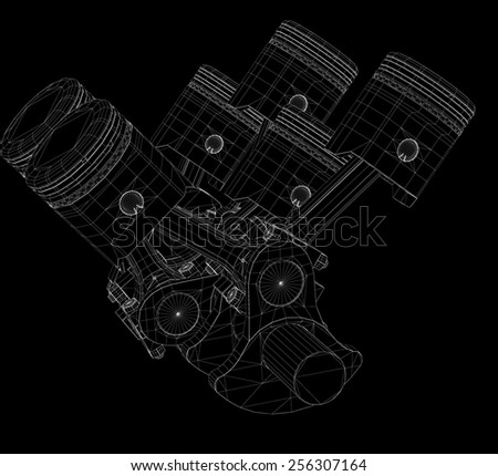 Pistons, V8 engine, body structure, wire model - stock photo