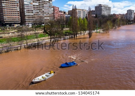 Pisuerga river in Valladolid about to overflow. - stock photo