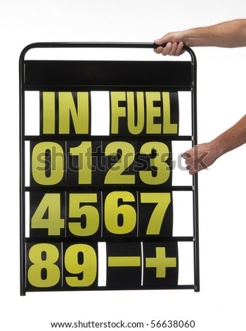 pit display board with numbers and letters - stock photo