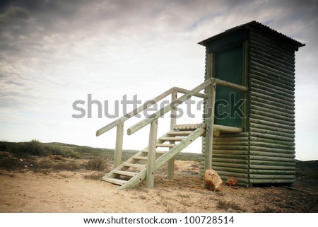 Pit toilet in outback of Western Australia. - stock photo