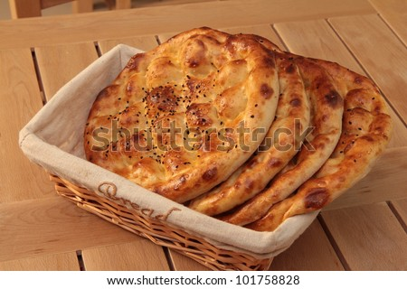 Pita  bread in basket - stock photo