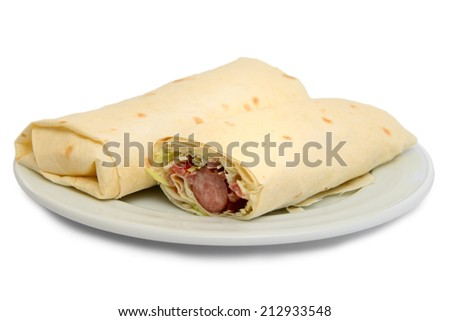 pita bread roll with sausage and salad isolated - stock photo