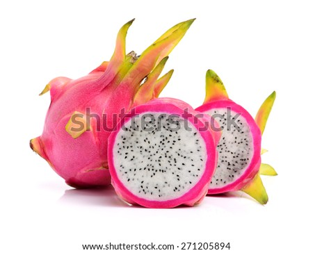 Pitaya or Dragon Fruit isolated against white background - stock photo
