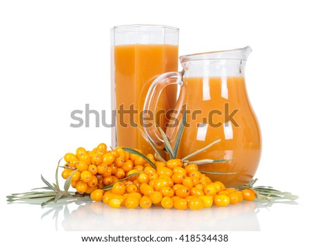 Pitcher and a glass of juice from the berries of sea buckthorn isolated on white background - stock photo