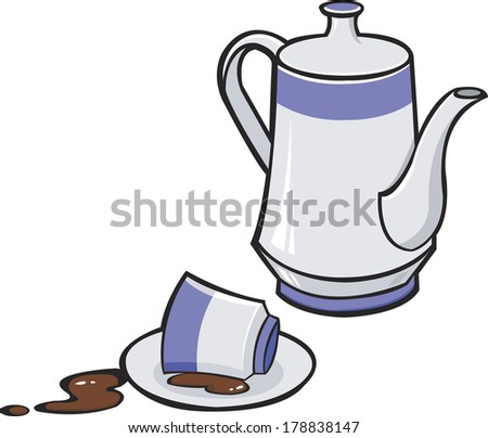 Pitcher and cup with spilled coffee