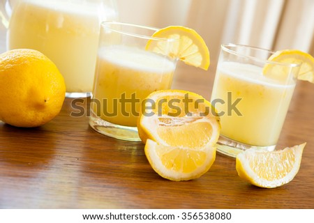 Pitcher and glasses of Homemade lemonade