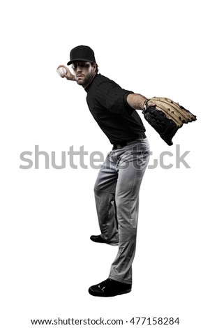 Pitcher Baseball Player with a black uniform on a white background.