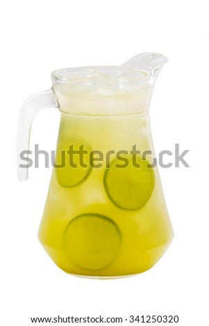pitcher of lemonade closeup on white background