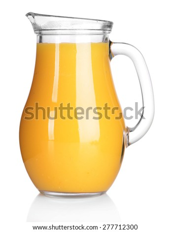 Pitcher of orange juice isolated on white - stock photo