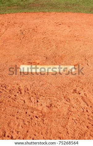 Pitching mound on a baseball field - stock photo