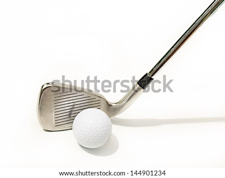 pitching wedge with ball Isolated On White background.