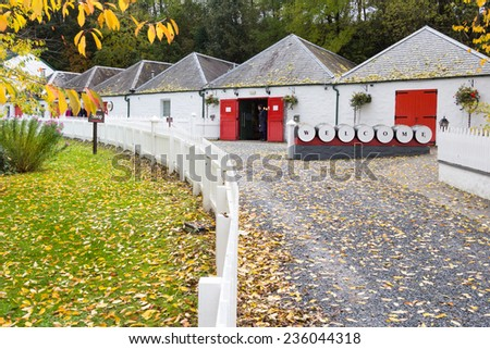 PITLOCHRY, SCOTLAND - OCTOBER 18: Edradour Distillery, Scotland's smallest distillery on October 18, 2014 in Pitlochry, Scotland. - stock photo