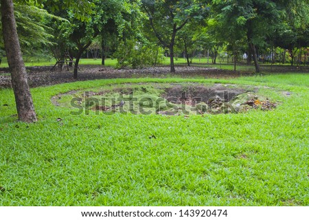 Pits for composting. - stock photo