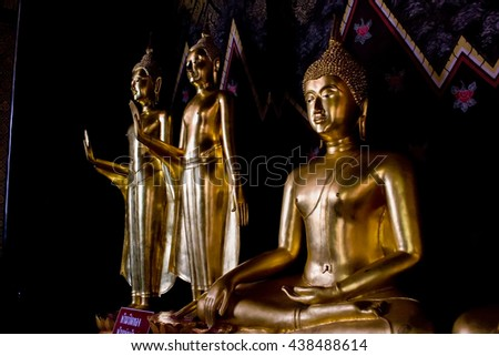 Pitsanulok , Thailand - June 29, 2008 : The Image of buddha sculpture at ancient temple in north of Thailand.