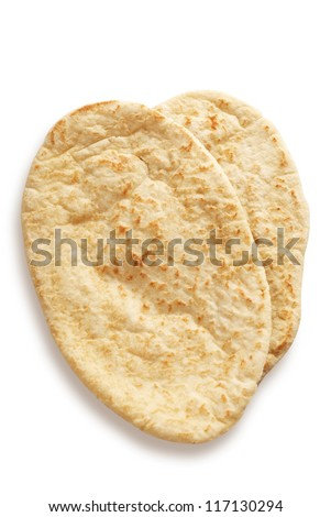 Pitta bread isolated on white with path.