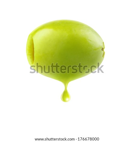 Pitted green olive with drop of oil isolated on white - stock photo