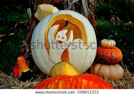Pittsboro, North Carolina - October 30, 2016:  Caspar the Ghost carved jack-o-lantern at the annual Fearrington Village Halloween event