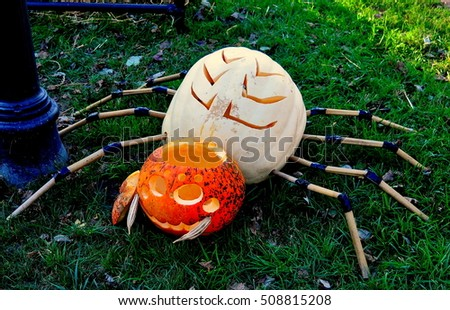 Pittsboro, North Carolina - October 30, 2016:  Pumpkins carved as a crab and lobster at the Fearrington Village Pumpkinfest Halloween event