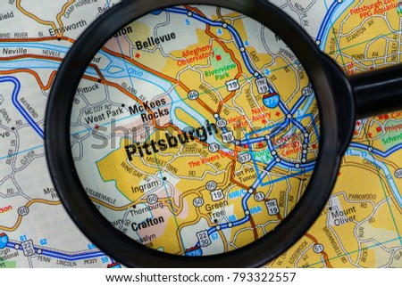 pittsburgh on us map