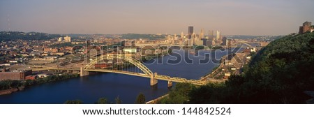 Pittsburgh, PA with West End Bridge, and Allegheny, Monongahela and Ohio Rivers - stock photo