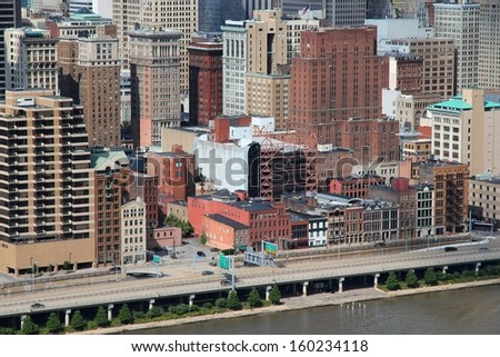 Pittsburgh, Pennsylvania - city in the United States. Cityscape with Monongahela River. - stock photo