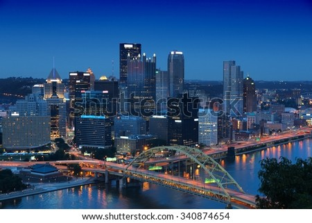 Pittsburgh, Pennsylvania - city in the United States. Night skyline. - stock photo