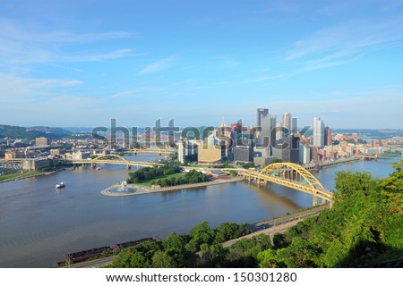 Pittsburgh, Pennsylvania - city in the United States. Skyline with Allegheny and Monongahela River. - stock photo