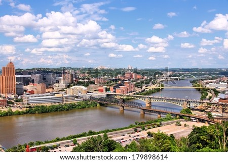 Pittsburgh, Pennsylvania - city in the United States. Skyline with bridges Monongahela River. - stock photo