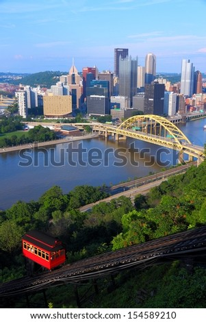 Pittsburgh, Pennsylvania - city in the United States. Skyline with Monongahela River and Duquesne Incline funicular - stock photo