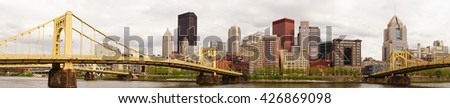 Pittsburgh Pennsylvania Downtown City Skyline Allegeny River - stock photo