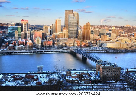 PITTSBURGH, PENNSYLVANIA, USA - circa JAN. 2014: The city skyline view of Pittsburgh, the second largest city of Pennsylvania in winter sunset.
