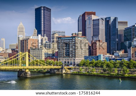 Pittsburgh, Pennsylvania, USA daytime downtown scene over the Allegheny River. - stock photo
