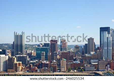 Pittsburgh Pennsylvania USA, skyline panorama of business buildings and banks in the financial downtown district on a beautiful sunny day with blue sky - stock photo