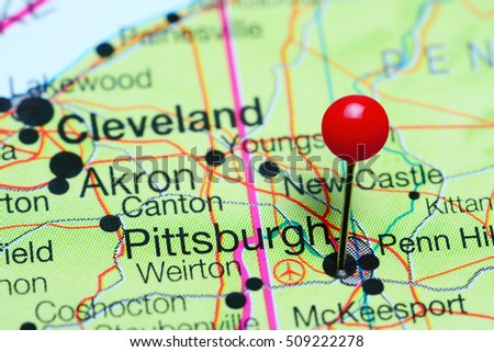Pittsburgh Pinned On Map Usa Stock Photo 247617427 Shutterstock