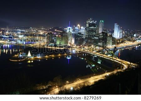 Pittsburgh's skyline from Mount Washington at night. - stock photo