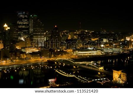 Pittsburgh Skyline at Night - stock photo