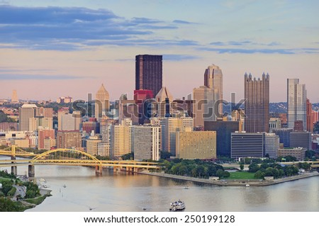 Pittsburgh Skyline. Image of Pittsburgh downtown skyline during summer sunset. - stock photo